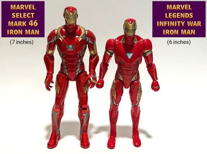 Comparision of Marvel Select Civil War Iron Man and Marvel Legend Infinity War Iron Man.