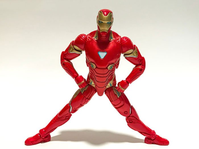 Iron Man's hip joints allow him to spread his legs apart.