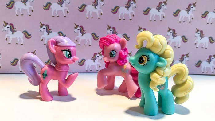 My Little Pony Mini Figures: Elbow Grease, Pinkie Pie, and Mare E. Lynn.