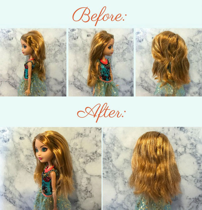 Before and After Images of Ashlynn Ella's hair.
