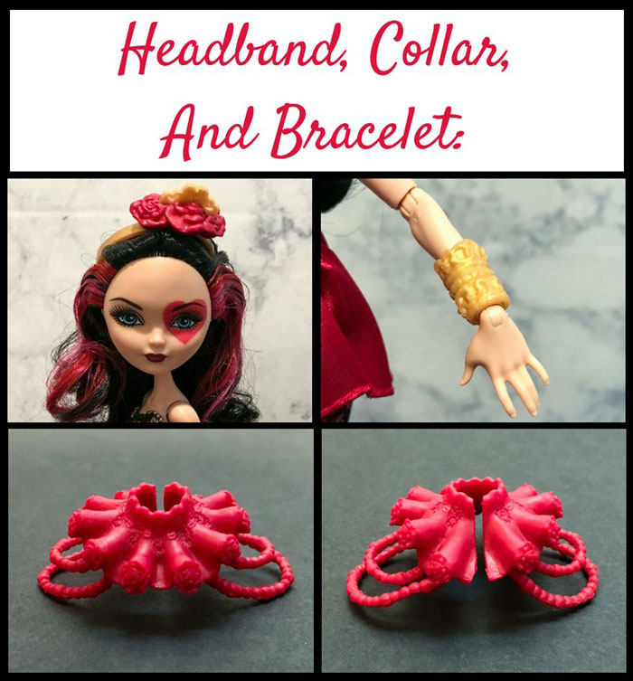 Image Of Lizzie Hearts' Headband, Collar, and Bracelet.