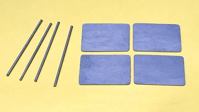 Paint and seal the small dowels and rectangles silver.