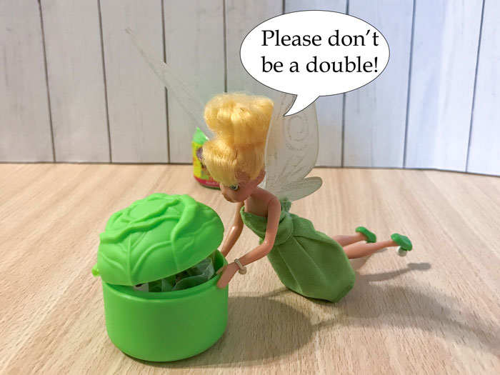 Tinkerbell opening blind box: Please don't be a double.