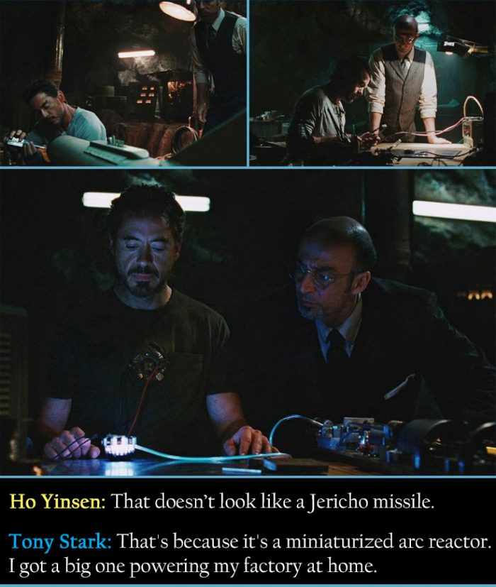 Tony Stark and Ho Yinsen Building The Arc Reactor.