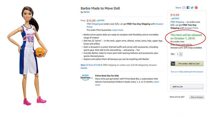 Screenshot of M2M Barbie on Amazon website.