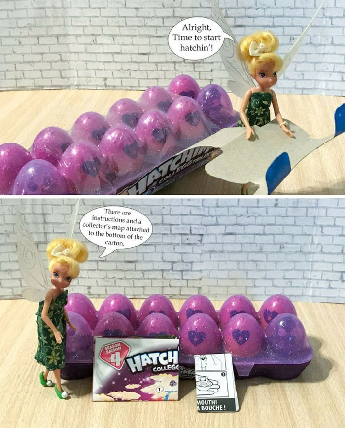 Image of Tinkerbell opening Hatchimal carton.