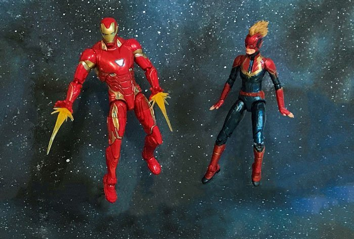 Marvel Legends Iron Man and Captain Marvel.
