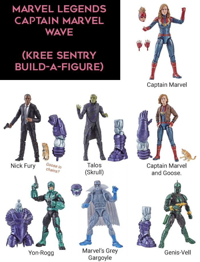 Figures from the Marvel Legends Kree Sentry Build-A-Figure Wave.