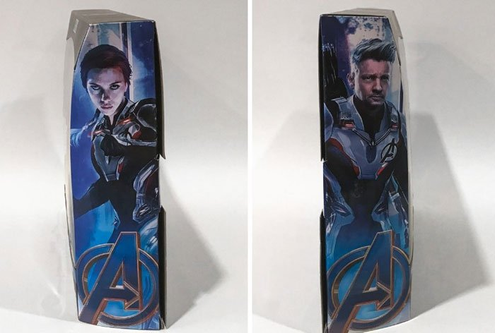 Artwork of Black Widow and Hawkeye on the sides of the box.