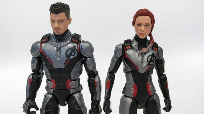 Close up view of Marvel Legends Black Widow and Hawkeye.