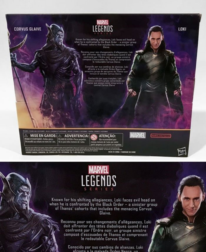 Back of Marvel Legends Loki and Corvus Glaive box.