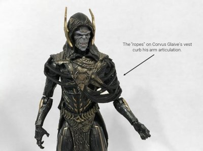 Corvus Glaive's vest stops him from lifting his shoulder to the side.