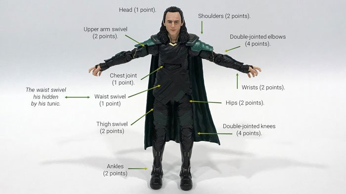 Image showing Loki's points of articulation.