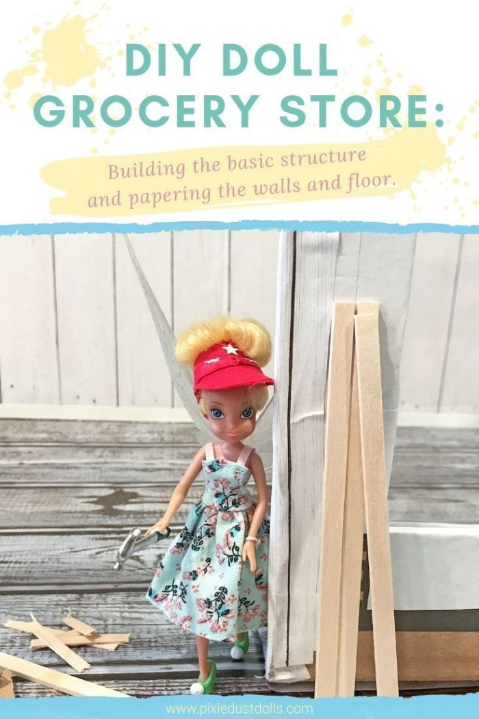 How to build a simple grocery store for Barbie dolls.