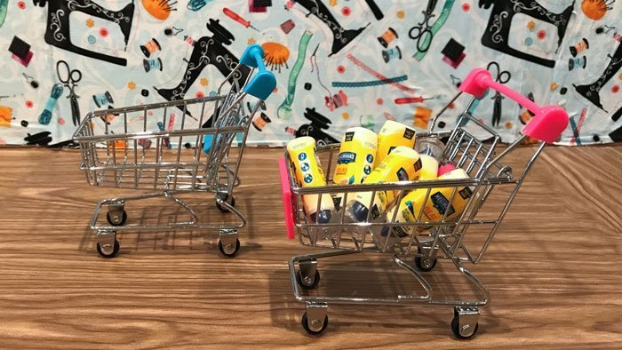 Miniature shopping carts from Hobby Lobby.