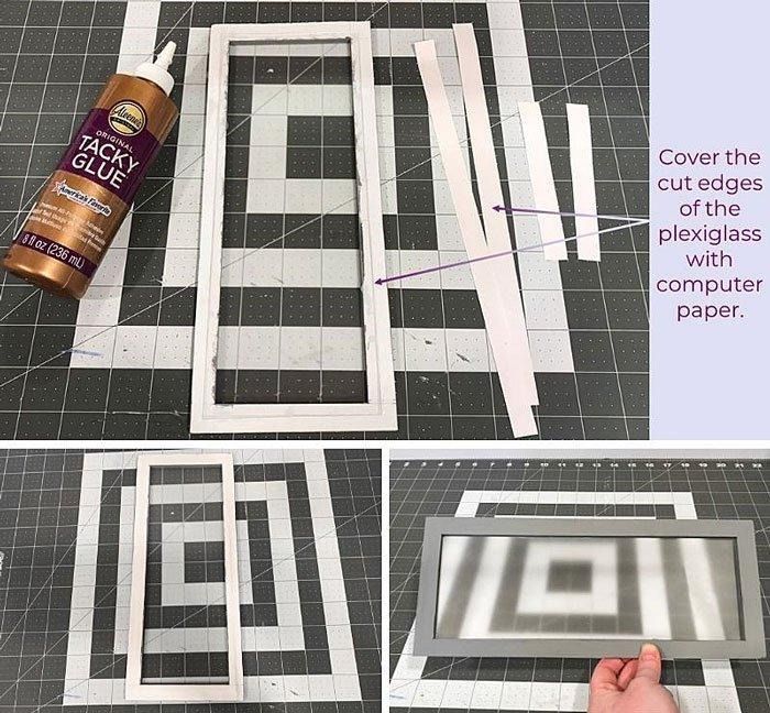 DIY Doll Freezer: Use white computer paper to hide the plexiglass edges.