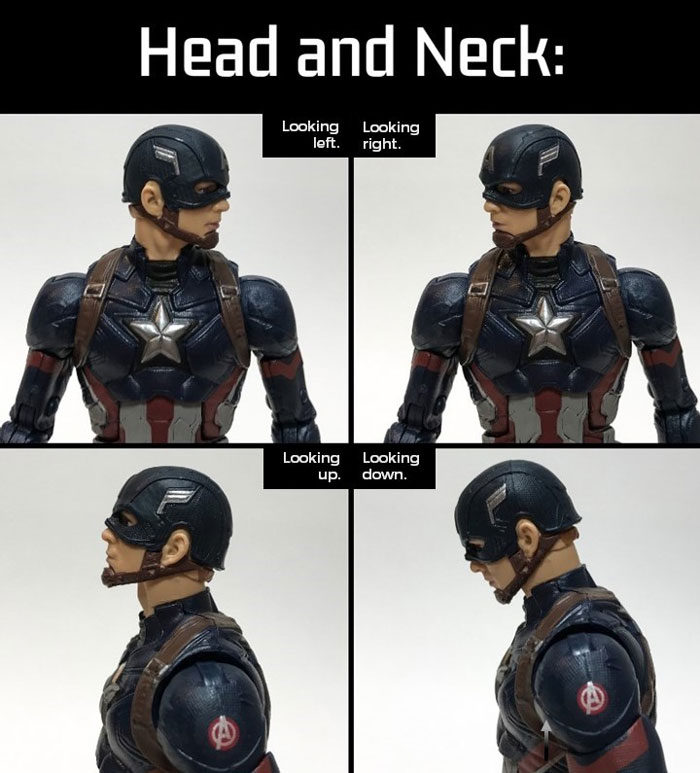 Marvel Legends Captain America: Head and Neck Articulation.