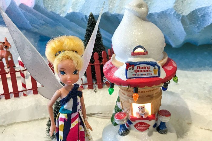 Tinkerbell with Dept. 56 Dairy Queen shop.