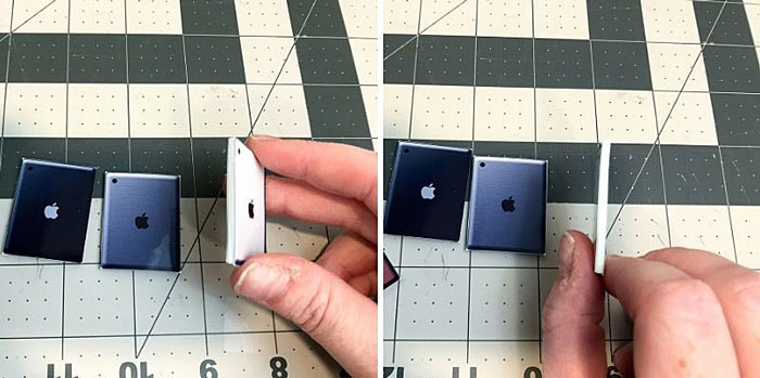 Miniature Ipads made from craft foam.