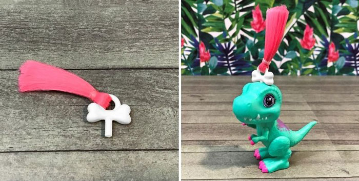 Baby Dino Crystal T-rex with hair clip.