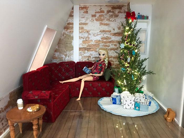 Elsa's Christmas Doll Room.