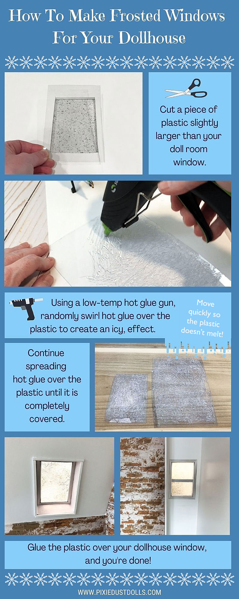 Make Frosted Windows For Your Dollhouse Using Hot Glue.