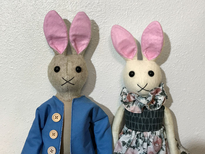 Handmade bunny dolls (Peter Rabbit and Mopsy).