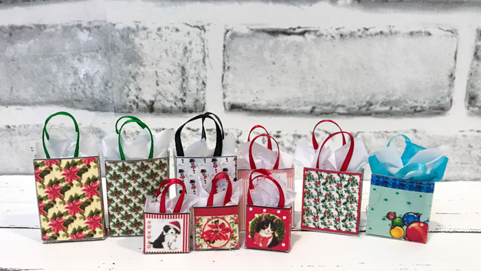 Printable Christmas bags from Jennifer's Free Dollhouse Printables.