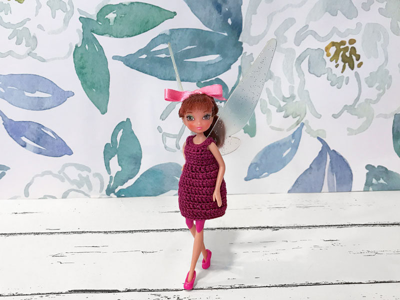 Crocheted dress for fairy dolls.