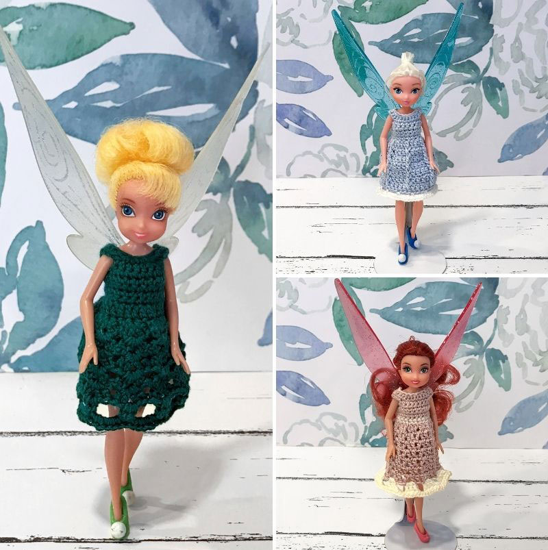 Variations of crocheted dresses for fairy dolls.