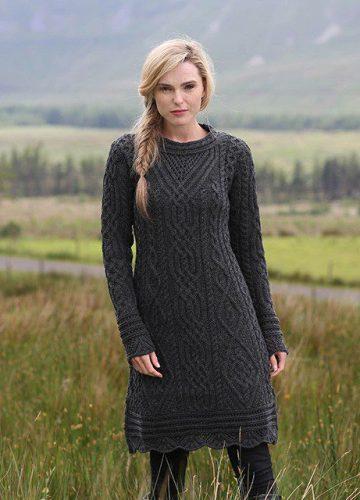 Irish Aran Dress With Scallop Lace