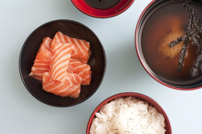 Miso Master Tour on pixiespocket.com: salmon sashimi, miso soup and rice