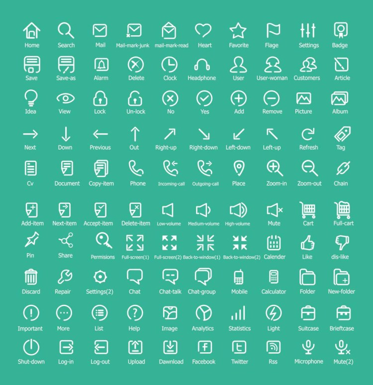 100 Free Flat Outline Icons
