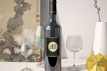 Free Realistic Wine Bottle Mockup