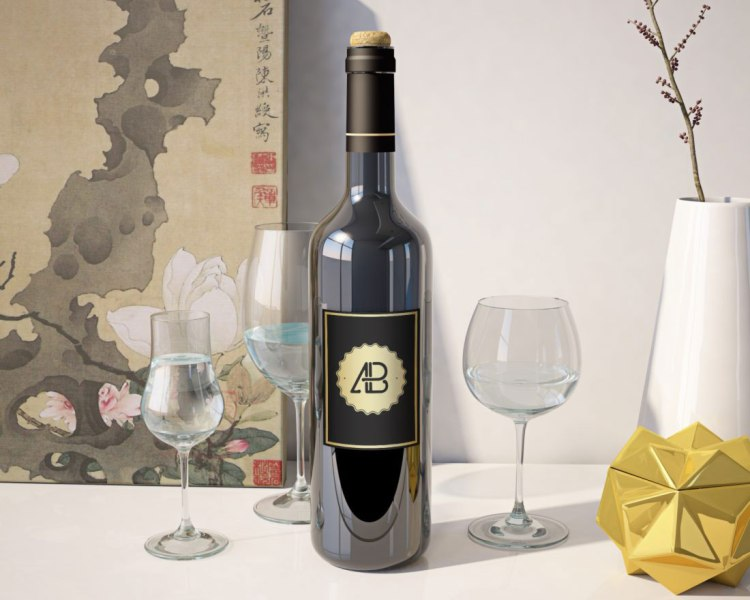 Free Realistic Wine Bottle Mockup