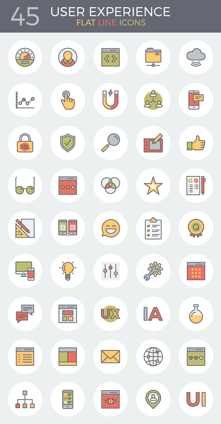 flat-line-user-experience-icons