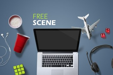 Free Entertainment Scene PSD Mockup