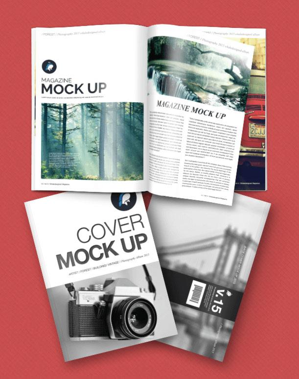 Free Mockup : Magazine + Cover