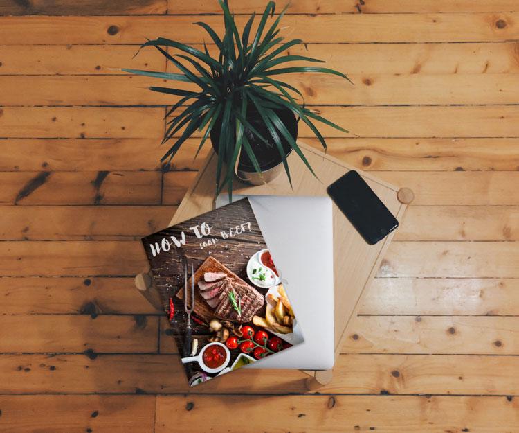 Magazine on table Mockup