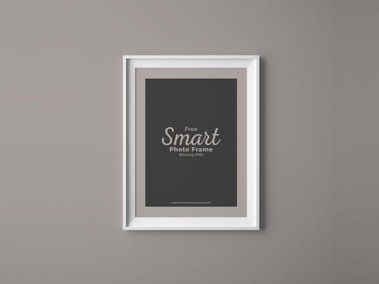 Photo Frame on Wall PSD Mockup
