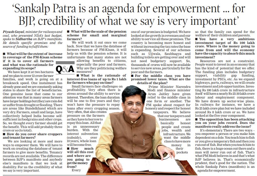 PM Narendra Modi ji believes in empowering a person rather than making him dependent on doles. The whole Sankalp Patra is an agenda for empowerment where every promise is properly budgeted