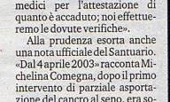 """8/4/2014.Pompei.Paralitica rivela: """"Sono guarita pregando a Pompei"""""""