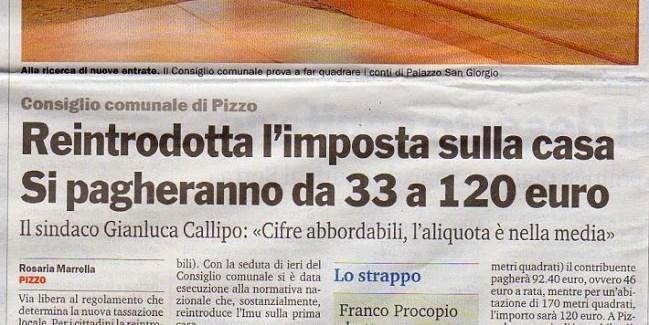 9/9/2014 – Comune di Pizzo. Reintrodotta l'imposta sulla casa, si pagheranno da 33 a 120 euro
