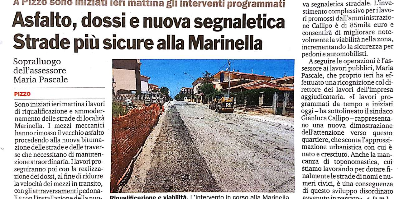 """Asfalto, dossi e nuova segnaletica Strade piu"""" sicure alla Marinella"""
