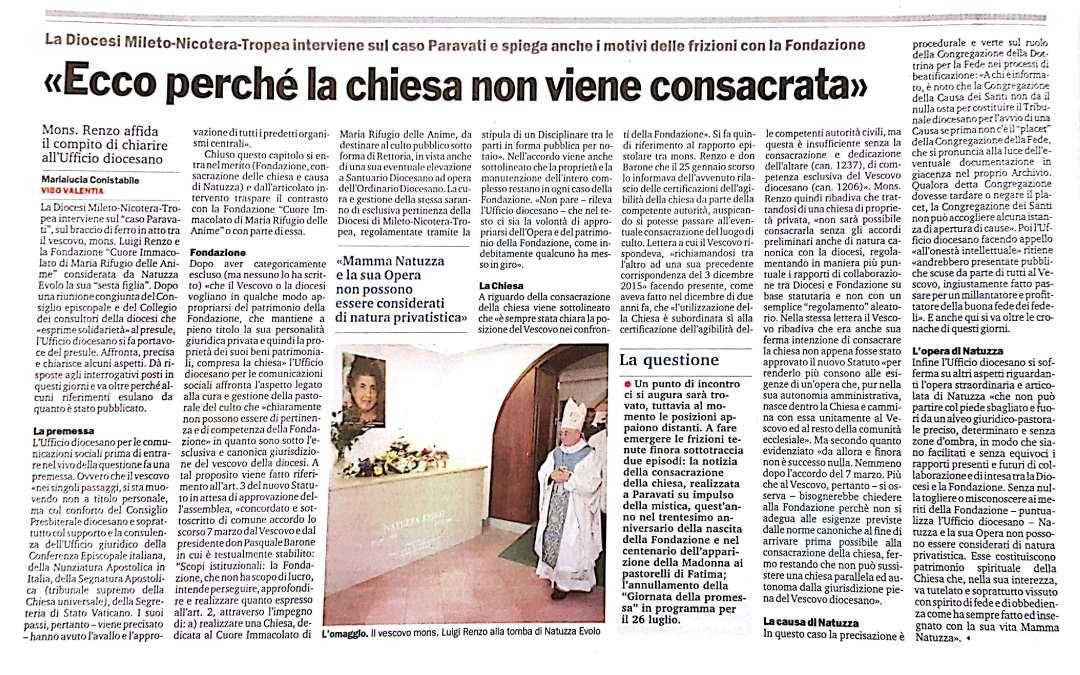 Ecco perche' la Chiesa di Natuzza Evolo non viene consacrata