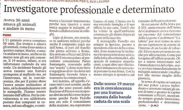 Maresciallo Fiorello investigatore professionale e determinato