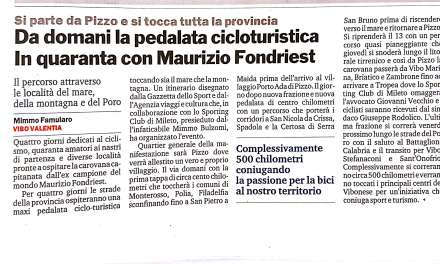 Da domani la pedalata cicloturistica In quaranta con Maurizio Fondriest