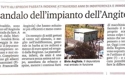 LO SCANDALO DELL'IMPIANTO DELL'ANGITOLA