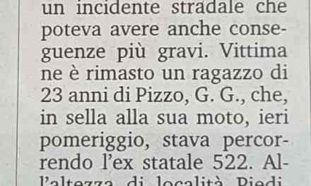 Incidente a Pizzo Moto sbanda a causa di una buca non segnalata