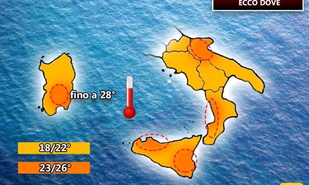 METEO: il SUD soffrirà il Caldo, Domenica sarà estate, fino a 30° di giorno
